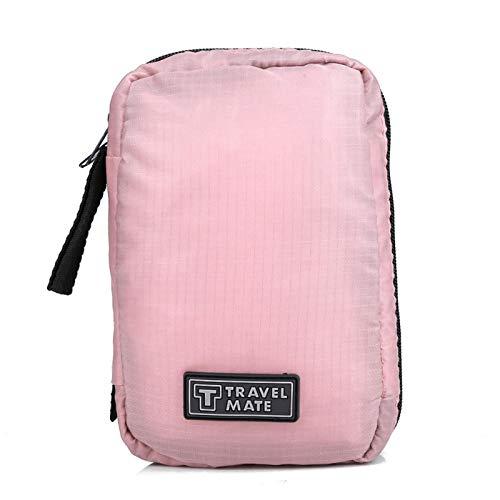 Bolsa de aseo colgante pequeña, portátil, plegable, cosmética para el cuidado de la piel, afeitado, bolsa de almacenamiento de viaje para hombres y mujeres, 4.6 x 7.3 x 1.7 pulgadas(Rosa)