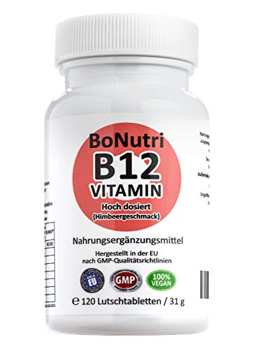 SONDERPREIS! Vitamin B12 500 µg Tagesdosis 120 vegane Lutschtabletten 8-Monatsbedarf Ohne Magnesiumstearat Vegan Glutenfrei Laktosefrei Beste Qualität