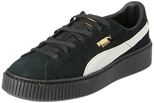 PUMA Suede Platform Donna Sneaker, (Puma Nero Bianca Oro 03), 41 EU