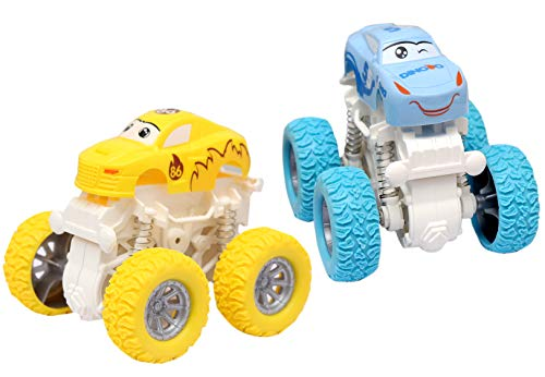 TOY REPUBLIC Mini Monster Stunt Truck Car ( Pack of 2) Toy for Kids, Toddlers, Baby, Child, Girls 3, 4, 5,6 and 7 Year Old Boys (2 Piece) (Baby Yellow and Blue Colour with White chasis) Set of 2 Toys