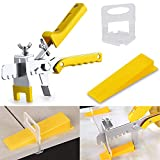 Tile Leveling System with Tile Plier - 300-Piece Tile Spacers Clips and 100-Piece Reusable Wedges - Tile Tools Set for Stone Installation (1/16 Inch Tile Spacers)