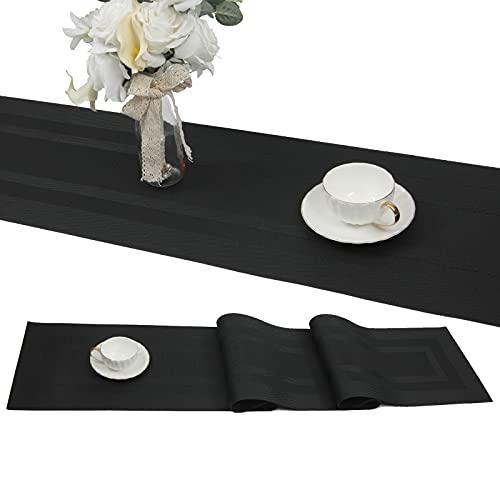 SHACOS Noir Chemin de Table tressé en Vinyle antidérapant Isolation Thermique Lavable 30x180cm