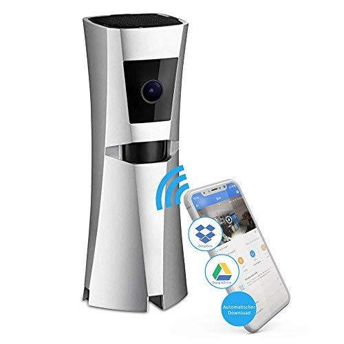 Sens8 kabellose Überwachungskamera Innen mit WLAN und Sirene als Alarm – Zimmerkamera speichert direkt in Ihre Cloud OHNE Speicherkarte und OHNE Gebühren mit Nachtsicht und Bewegungsmelder