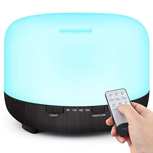TENSWALL 500ml Diffuseur d'Huiles Essentielles, Télécommande d'humidificateur Ultrasonique Sans BPA avec 7 Couleurs Lumières LED pour la Maison, Yoga, Bureau, SPA, Chambre-Noir
