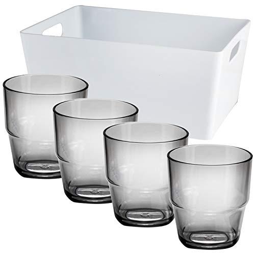 4 x Trinkglas grau aus Acryl 230 ml + Box - Campinggeschirr Zubehör Trinkgläser Glas - Picknick Gläser Trinkbecher Kunststoff Wasserglas Partyzubehör Campingküche Plastikglas Kunststoff Kinderbecher
