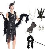OKQ Women's Vintage 1920s Sequin Beaded Tassels Hem Flapper Dress w/Accessories Set (Black, XL)