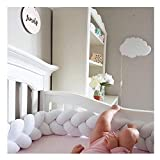 Infant Soft Pad Braided Crib Bumper Knot Pillow Cushion Cradle Decor for Baby Girl and Boy (White, 157')