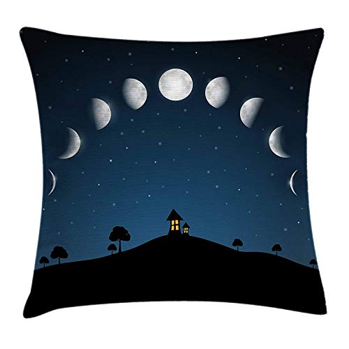 YATTYUG Moon Phases Throw Pillow Cushion Cover, Night Landscape with Trees and House on a Hill Starry Cosmic Sky, Decorative Square Accent Pillow Case, Night Blue Black Silver 18x18 Inches
