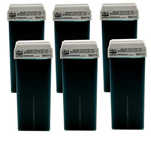6 Stück 100 ml Premium Azulen Wachs Warmwachs Wachspatronen zur Haarentfernung Enthaarung Waxing