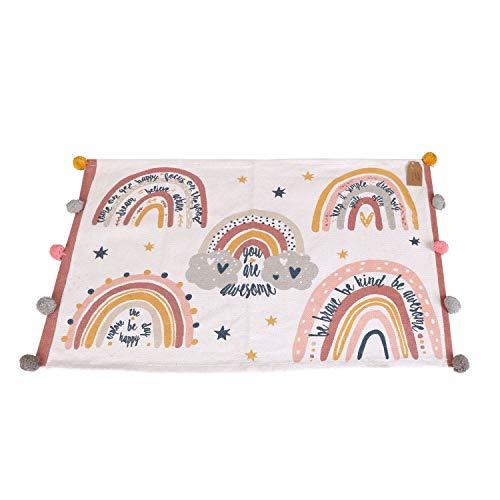 Alfombra para habitación infantil con pompones, 60 x 90 m, multicolor