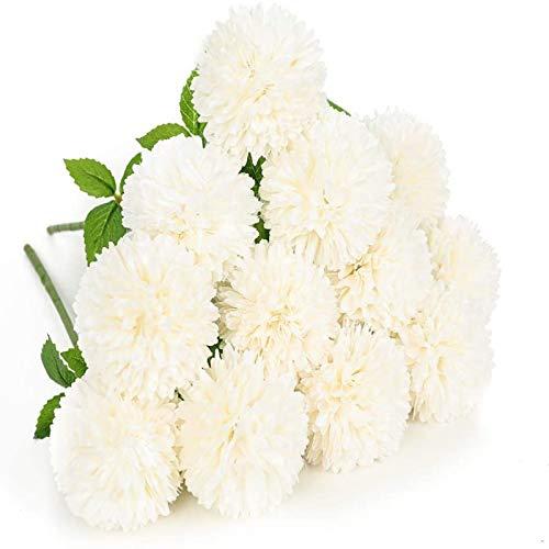 YYHMKB fiori artificiali 12 pezzi crisantemo palla fiori seta ortensia bouquet da sposa da sposa per la casa giardino festa decorazioni per la casa bianco