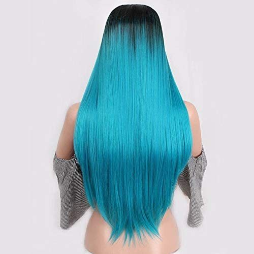 Longue perruque de cheveux raides, perruque mixte brune et dorée perruque de cheveux longs, perruque naturelle blanche/noire féminine 11 K