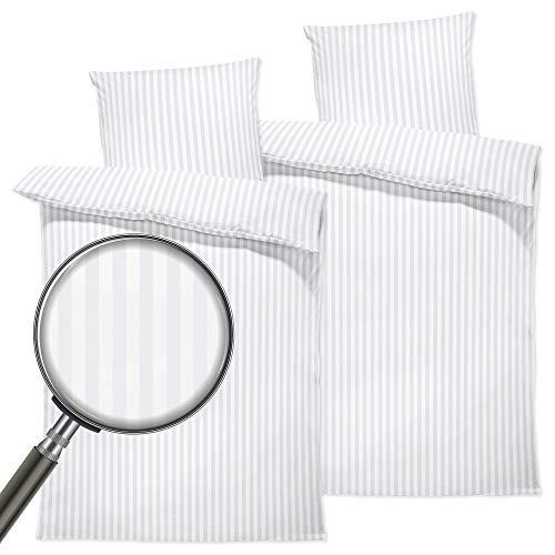 Damast Bettwäsche 135x200 Baumwolle - Luxuriöse Hotelbettwäsche 135x200 mit Kissenbezug 80x80 cm Bettbezug Luxus Damastbaumwolle Weiß (2 Sets)