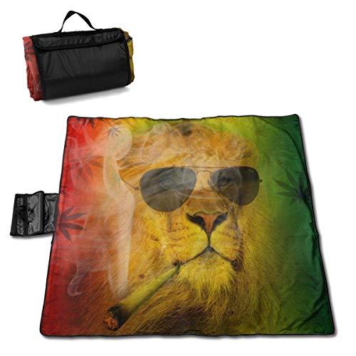 Singledog Picknickdecke Coole Rasta Lion Judah mit Sonnenbrille Raucher Picknick und Outdoor-Decke für Outdoor Handy Mat Tote 145X150CM