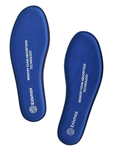 Knixmax Memory Schaum Einlegesohlen für Damen Herren - Weich Komfort SchuhEinlagen für Sport, Freizeit und Beruf - für Arbeitsschuhe, Wanderschuhe, Sneaker Männer Marineblau 44 EU