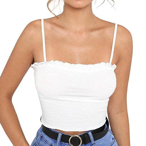 MRULIC Mode Damen Rüschen Tank Top Weste Schulterfrei Halter Bluse T-Shirt Camis (S, Weiß)