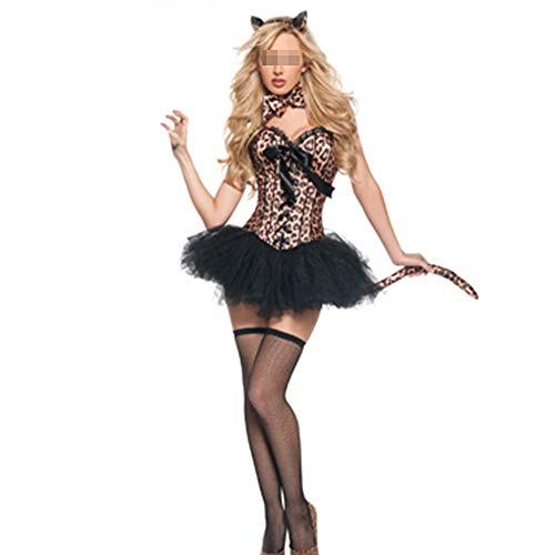 Halloween luipaard tutu Jurk Vrouwen Deluxe Jungle Kat Korset Kostuum Halloween Fancy Jurk