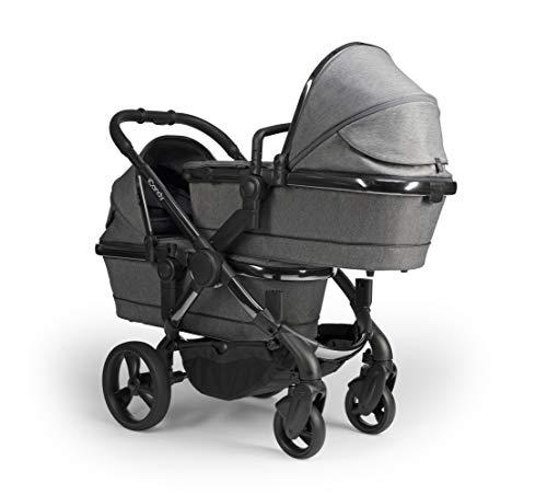 iCandy Peach Phantom Dark Grey Twill Pushchair & Carrycot Twin IC2274