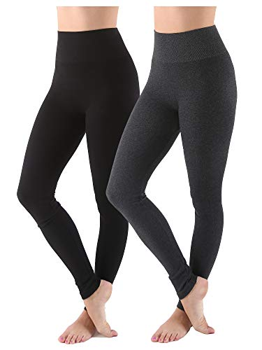 AEKO Women's Thick Yoga Soft Cotton Blend High Waist Workout Leggings with Tummy Control Compression (Plus USA 10-14, Black-Dark Grey)