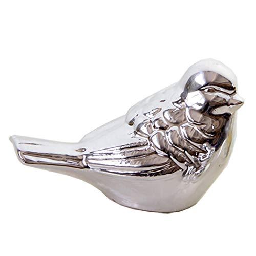FLAMEER Gartenfigur Dekofigur Vogel Skulptur Garten Dekovogel Kunstvogel Deko für Innen oder Außen, Silber - S