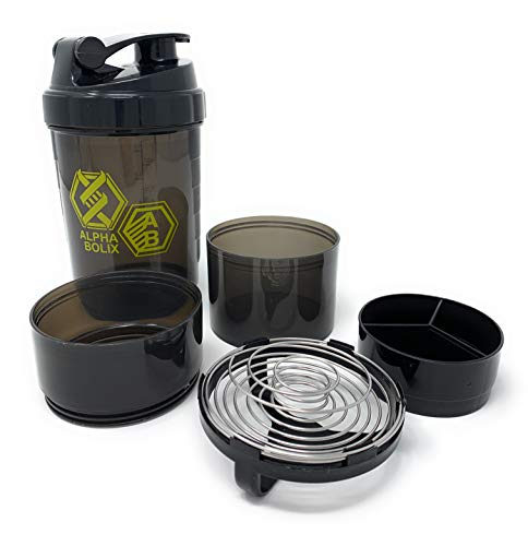 Alphabolix 22oz Protein Shaker Bottle - SoA Blending Grids System- Triple layer Storage- 3oz cups with pill tray - Leak Proof Shake Bottle Mixer- Sports Water Bottle