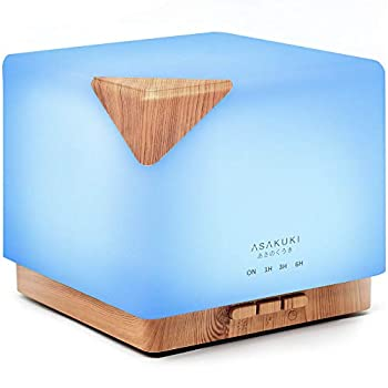 ASAKUKI 700ml Premium Essential Oil Diffuser 5 in 1 Ultrasonic Aromatherapy Fragrant Oil Vaporizer Humidifier Timer and Auto-Off Safety Switch 7 LED Light Colors