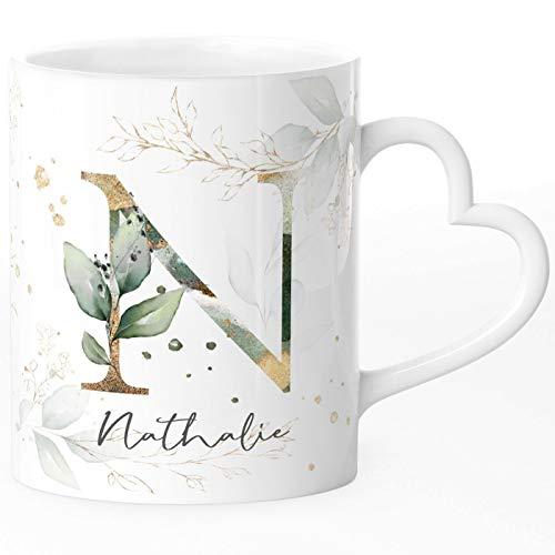 SpecialMe® Kaffee-Tasse mit Buchstabe Monogramm personalisiert mit Wunschname Initiale Blätter-Motiv persönliche Geschenke weiß Herz-Tasse