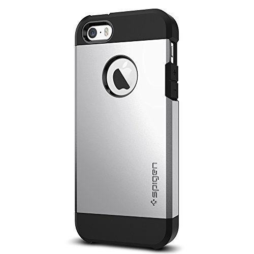 Spigen Tough Armor iPhone SE Case with Extreme Heavy Duty Protection and Air Cushion Technology for iPhone SE 2016 - Satin Silver