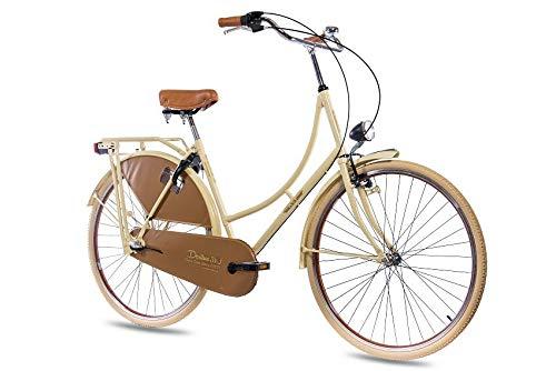 KCP 28 Zoll Citybike Damen Hollandrad - Deritus N3 Creme - Damen-City-Fahrrad mit Shimano Nexus 3 Gang Nabenschaltung im Retro Design, Vintage Damenfahrrad mit Rücktrittbremse und Gepäckträger