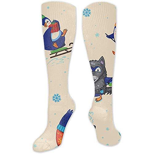 Web--ster Unisex Calcetines Largos Largos Calcetines Calcetines Pintura Digital Navidad Reno Silueta con Adorno Casual Sport Stocking Cotton