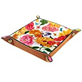 Valet Tray, PU Leather Catchall, Tray Organizer, Storage Box for Watches Jewelry Coins Key Wallet Sunflower Peony Rose Spring