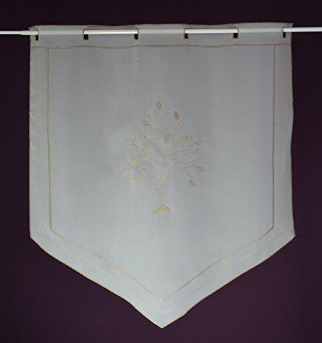 VonKnaub Fenster- Tür Gardine Scheibengardine nach Maß Stick- Lamellenpanneau Höhe 60 cm - Breite der Gardine durch Stückzahl in 60 cm Schritten wählbar Weiß/Beige