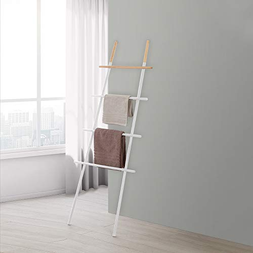 Scala Porta Asciugamani Moderna H 170 cm, realizzata in acciaio e particolari in bambù, 4 ripiani (Bianco)