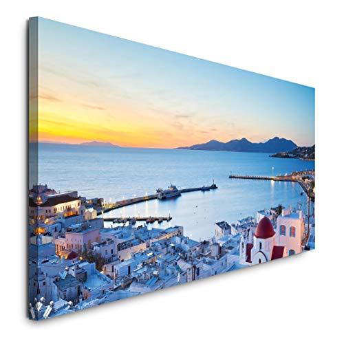 Paul Sinus Art GmbH Griechenland Skyline 120x 50cm Panorama Leinwand Bild XXL Format Wandbilder Wohnzimmer Wohnung Deko Kunstdrucke