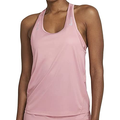 NIKE W Nk Miler Tank Racer Camiseta de Tirantes para Mujer, Pink Glaze/Reflective Silv, Medium