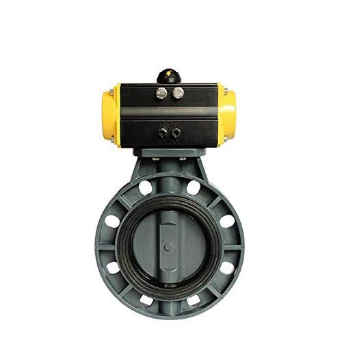 youyu6-2o521 Electroválvula de líquido y Gas PVC de 3 Pulgadas neumático válvula de Mariposa del Resorte Returned EPDM PN10Bar Asiento Cierre Inteligente de Tubos