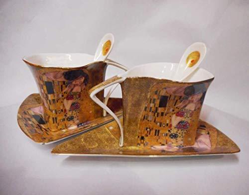 Atelier Harmony Teetassen Kaffeetassenset 6teilig Gustav Klimt Der Kuss Porzellan mit Geschenkbox NEU Limited Collection beige/Gold