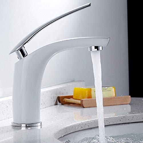 Wasserhahn Bad Weiss,Waschtischarmatur für Bad Einhebel Armatur Mischbatterie Waschbecken Armatur Bad,Kalt + Warmwasser Mischbatterie,Moderne Elegant Stil (Weiß)