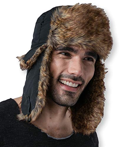 Winter Trapper Hat - Russian Ushanka Trooper Aviator Hats for Men & Women - Snow Eskimo Hat with Ear Flaps for Cold Weather