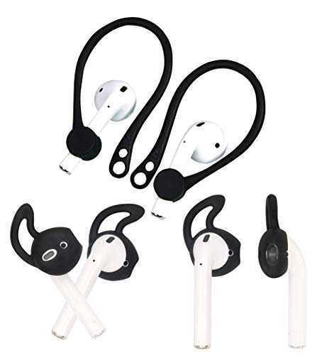 ALXCD Ear Hook Ear Tips Replacement for Airpod, 1 Pair Over-Ear Soft TPU Ear Hook & 2 Pairs in-Ear Silicone Ear Tips [Anti Slip][Anti Lost], Fit for Airpod Headphone [Black](1+2S)