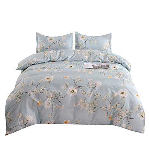 YMY Lightweight Microfiber Bedding Duvet Cover Set, Chic Floral Pattern (Light Blue, Twin)