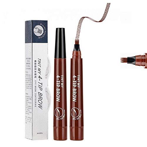 4 stylo de tatouage de sourcil de bout de fourchette, crayon de sourcil liquide imperméable professionnel durable pour créer les sourcils vifs et naturels (03 Rouge brun)