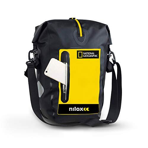 Nilox - Bolsa para Bicicleta Nat Geo, Unisex, para Adulto, Color Negro y Amarillo