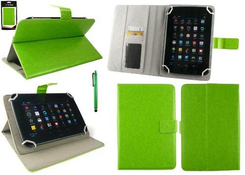 Emartbuy® BigBen Unity Tab 7 Tablet PC 7 Zoll Universalbereich Grün Multi Angle Exekutiv Folio Mappen Kasten Abdeckung mit Kartensteckplätze + Grün Eingabestift