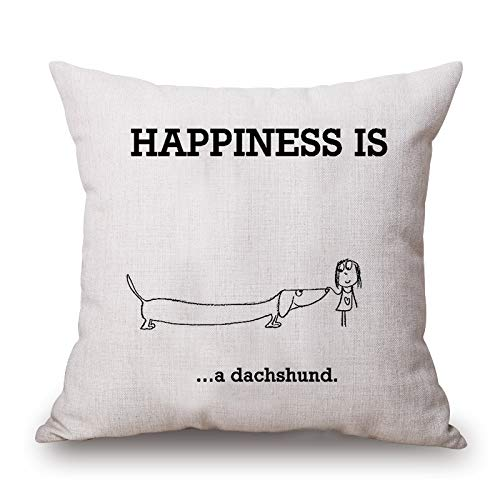Find Cheap JES&MEDIS Home Decor Pillowcase Happiness Dachshund Pattern Cotton Linen Square Throw Pil...