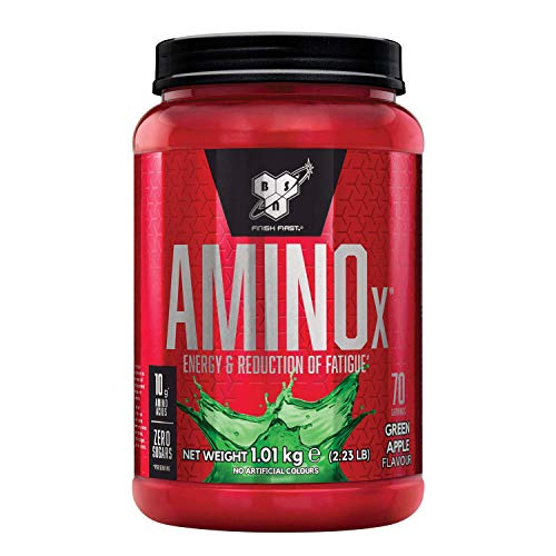 BSN Nutrition Amino X, BCAA Poudre, Complement Alimentaire avec Vitamine D et Acides Aminés, Saveur Pomme Verte, 70 Portions, 1kg
