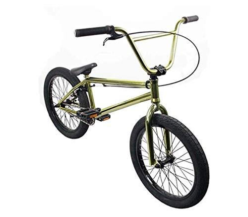 GASLIKE Bici BMX da 20 Pollici Freestyle per Ciclisti di Livello principiante e avanzato, Telaio in Acciaio al Carbonio, Ingranaggi BMX 25X9t, con Freno a U,d'oro
