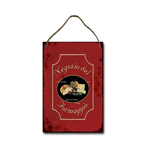 KPSheng Negozio del Formaggio Wall Decor Hanging Sign, Farmhouse Rustic Wood Plaque Decorations Wall Art, 8x12 Inches