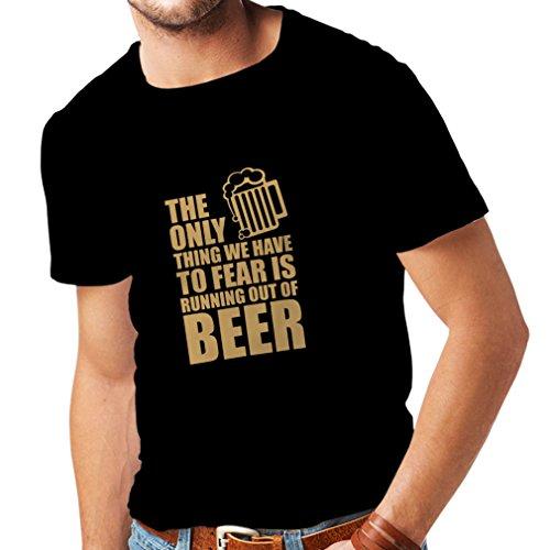 lepni.me Camisetas Hombre Tener Miedo de no Tener una Cerveza - para la Fiesta, Bebiendo Camisetas (XX-Large Negro Oro)
