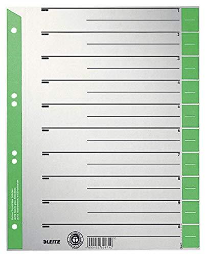 Leitz Register für A4, Deckblatt und 10 Trennblätter, Taben individuell zuschneidbar, 25 Stück, Überbreite, Grau/Grün, 100% Recyclingkarton, 16523055
